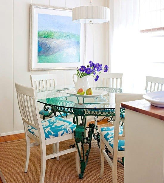 Glass Table and Armless Chair